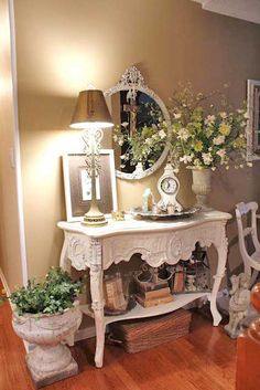 Shabby Chic I like the wall color with white furniture
