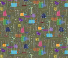 Glass Menagerie chemistry set pattern fabric by sammyk on Spoonflower - custom fabric