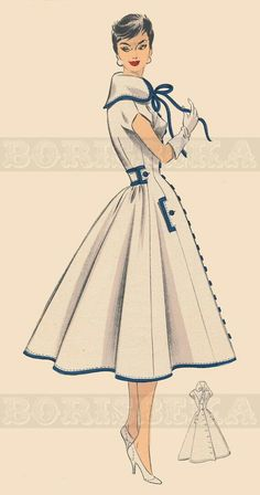 vintage French DRESS/COAT sewing pattern PDF by borisbeka add long sleeves and fur trim maybe? Vintage Dress Patterns, Clothing Patterns, Vintage Dresses, Vintage Outfits, Vintage Clothing, Skirt Patterns, Coat Patterns, Blouse Patterns, Clothing Styles