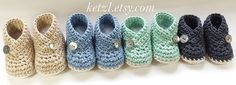 "Crochet Pattern for Kimono Baby Booties INSTANT DIGITAL DOWNLOAD Pattern 034  These crochet booties fold over in kimono style with a button closure. They are lovely for boys or girls. Choose a colour you love and add a cute button to match.  The pattern has 4 sizes: Size A: Small Newborn 3 1/8 "" (8cm) Size B: Newborn 3 3/8 "" (8.5cm) Size C: 3 months 3 3/4 "" (9.5cm) Size D: 6 months 4 1/8 "" (10.5cm)  The pictures show the booties made with Morris and Sons Avalon 10ply cotto..."