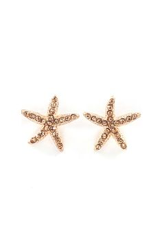 Starfish Earrings in Champagne Crystal on Emma Stine Limited