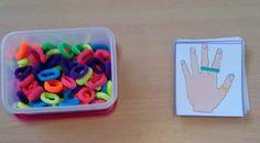 Treino de motricidade fina, orientação espacial e lateralidade: Colocar os elásticos nos dedos, de acordo com os modelos apresentados, ou seja, tendo em conta o local de colação (dedo x ou y), a cor do elástico, bem como a mão (direita ou esquerda).