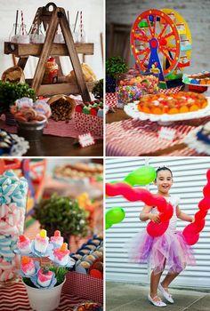 Decoração da festa infantil Bailarina e Palhaço, doces, fantasia