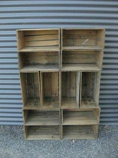 Lot x12 Vintage Australian Fruit Boxes Wooden Industrial Fruit Boxes Crates