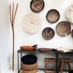 """""""Just a snippet of the incredible decorative pieces going out to clients and press this week. You can always count on LuMu for eclectic and breathtaking…"""" African Interior, African Home Decor, Juju Hat, Wall Decor, Room Decor, Boho Stil, Baskets On Wall, Living Room Inspiration, Global Design"""
