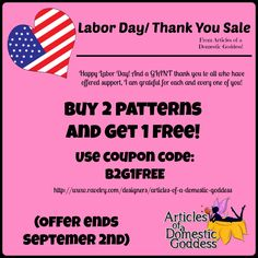 17 best discountscontestsraffles images on pinterest domestic labor daythank you sale buy 2 get 1 pattern free use coupon fandeluxe Image collections