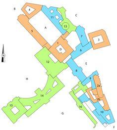 A Internal Castle Square, B Ballhausplatz - Ball House Square, C St. Michael's Square, D Schweizerhof - Swiss Court, E Joseph Square, F Albertina Square, G Burggarten - Castle Garden, H Heldenplatz)