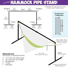 How to make a portable Hammock stand (Hammock Camping Hacks) Eno Hammock, Backyard Hammock, Portable Hammock, Indoor Hammock, Hammock Chair, Hammock Stand, Hammocks, Hammock Ideas, Hammock Frame