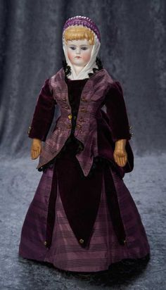 German Bisque Lady with Purple Head Shawl, 996, by Alt, Beck and Gottschalk ~~ wearing silk and velvet burgundy fashion costume. Condition: generally excellent. Marks: 996 # 6. Comments: Alt, Beck and Gottschalk, circa 1875