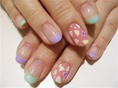 Nails, Nail Art, Nail Design, Manicure, French Tips, Triangles, Lavender, Mint Green, Dusty Rose, Pink, Oval Nails, Spring, Easter