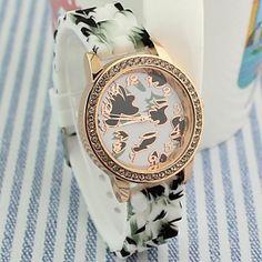 vrouwen bamboe blad patroon ronde rubber wijzerplaat band quartz mode horloge – EUR € 11.99