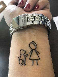 Tatoo girl and labrador ☺️ - Tattoo-Ideen - Perros Mädchen Tattoo, Dog Tattoos, Mini Tattoos, Animal Tattoos, Trendy Tattoos, Cute Tattoos, Body Art Tattoos, Small Tattoos, Tattoos For Women
