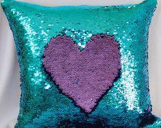 Light Blue and Purple Mermaid Pillows, Sequin Pillows Cover, Pillow, Throw Pillow, Luxury Sequin Pillows Big Girl Bedrooms, Girls Bedroom, Teal Throw Pillows, Mermaid Pillow, Sequin Pillow, Cute Toys, Blue Bedroom, My New Room, Girl Room