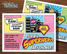 Superhero Baby Shower Invitation Girl or Boy by ABOcustomDesign, $12.00