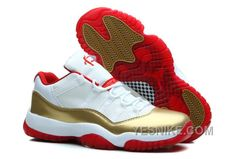 """http://www.yesnike.com/big-discount-66-off-air-jordan-11-xi-retro-low-two-rings-white-metal-goldvarsity-red-for-sale.html BIG DISCOUNT! 66% OFF! AIR JORDAN 11 (XI) RETRO LOW """"TWO RINGS"""" WHITE/METAL GOLD-VARSITY RED FOR SALE Only $97.00 , Free Shipping!"""
