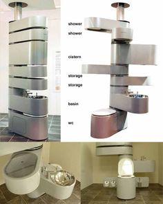Space Saving Designs | shower (2), cistern, storage (2), basin, & water closet