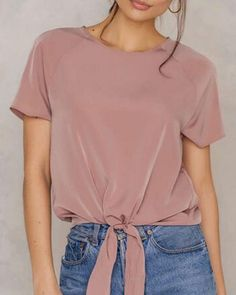f93bdd643b6f Short sleeve tie front cropped t shirts for women summer pink slim fit OL  work tops ladies girls chic casual black short tees