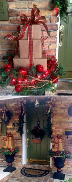 DIY Front Porch Packages Stock Made from Mail Boxes. Dyi Outdoor Christmas Decorations, Front Porch Ideas For Christmas, Christmas Boxes Decoration, Outdoor Christmas Planters, Christmas Tree, Diy Planters Outdoor, Rustic Christmas, Christmas 2017, Christmas Projects