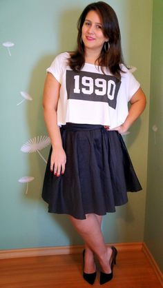 Cropped Top - Skater Skirt - Plus Size _ Curvy