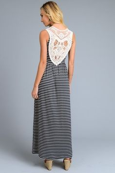 Charcoal Stripe With Lace Back Detail Maxi Dress | Jack & Monroe Boutique | Free, fast shipping