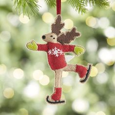 Skating Reindeer Felt Ornament | Crate and Barrel