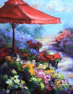Shades of Red, Flower Market, painting by artist Nancy Medina
