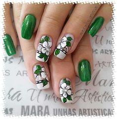 Floral Nail Art, Nail Art Diy, Classy Nails, Trendy Nails, Green Nails, Pink Nails, Cute Acrylic Nails, Cute Nails, Nail Art Videos