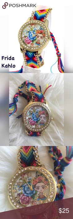 Frida Kahlo Girl Image Boho Bracelet Watch Quartz movement round watch trimmed with clear rhinestones. Get your Boho ( or hippie style) vibe on with this fashion worthy bracelet style watch. Pretty woven style with the band ending in tassels. Vibrant colors full of happiness! Celebrate Frida Kahlo with this little girl (or mini) Frida image. 23 cm, width 22 mm. The white background image is a stock photo the actual item you will receive is in the other images. Accessories Watches