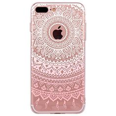 nice iPhone 7 plus Case, JIAXIUFEN TPU Silicone Gel Soft Clear Phone Case Cover for Iphone 7 plus (2016) - White Pink Tribal Mandala