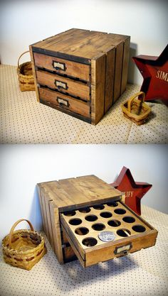 Rustic crate K-cup storage. Holds 48 cups