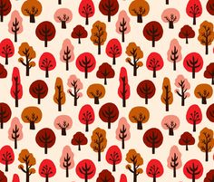 Fall Trees by Andrea Lauren  fabric by andrea_lauren on Spoonflower - custom fabric