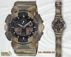Introducing the new G-Shock GA-100MM-5A Marble Camouflage Series. The series features a marbled pattern on the case and band which is made possible by a mixed colour moulding process.