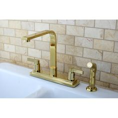 Euro Two-handle Polished Brass Kitchen Faucet with Side Sprayer   Overstock.com Shopping - Big Discounts on Other Plumbing