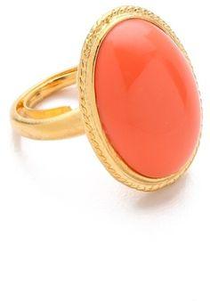 Kenneth Jay Lane Orange Oval Cabochon Ring