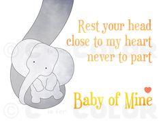 Sweet Baby Elephant Nursery Art Print - yellow and gray nursery decor - Baby Mine, Dumbo lyrics - a mother's love, baby shower gift - 8 x 10. (via Etsy)