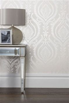 Buy Paste The Wall Damask Wallpaper from the Next UK online shop Next Paste The Wall Damask Wallpaper – Silver Grey Wallpaper Hallway, Grey Wallpaper Living Room, Wallpaper Lounge, Hall Wallpaper, Living Room Grey, Living Room Decor, Bedroom Decor, Damask Bedroom, Grey Wallpaper Feature Wall
