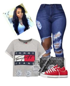 """""""♡"""" by nunumb ❤ liked on Polyvore featuring Hilfiger, Michael Kors, Converse and Kobelli"""
