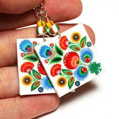 Rainbow Floral polish folk cut out motif Earrings
