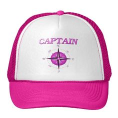Pink Captain with Compass Rose Trucker Hat