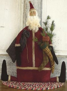 Primitive Folk Art Wool Doll Santa