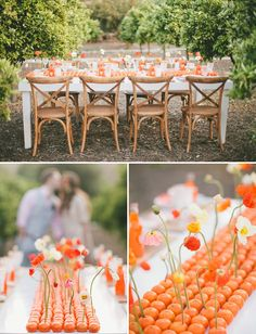 Orange Crush Wedding Inspiration. Love the table runner with oranges + poppies!