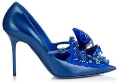 Jynx  Glitter Patent with Embroidery and Stones Pointy Toe Pumps