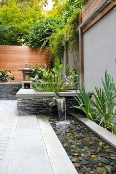 Unordinary Water Feature Front Yard Backyard Landscaping Ideas - Garden Design about you searching for. Backyard Water Feature, Ponds Backyard, Backyard Landscaping, Landscaping Ideas, Backyard Ideas, Backyard Patio, Sloped Backyard, Modern Water Feature, Desert Backyard