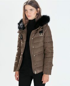 ZARA Woman BNWT Mink Quilted Anorak With Fur Hood Puffer Coat Jacket M 8073/225