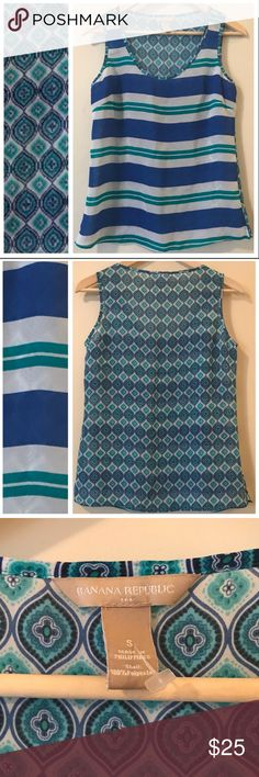"""Just In🔹Banana Republic Mixed Print Tank Top🔹 Preloved in like new conditions, Blue and green mixed prints, geo & stripes. Great for layering, Wear to work with cardigan or out with just jeans. Love the colors, Never go out of style classics. 🔹 Approx 25"""" Length 🔹 Banana Republic Tops Tank Tops"""