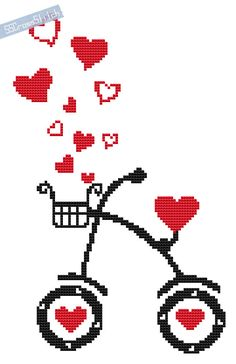 Counted Cross Stitch Pattern PDF Love Bike by SimpleSmart on Etsy, $3.00