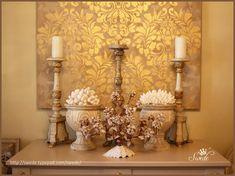 Elegant Metallic DIY Canvas Wall Art - Royal Design Studio - Fabric Damask Wall Stencils