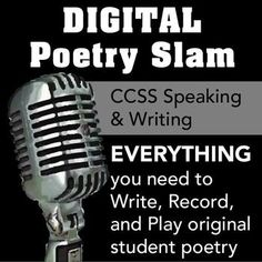 DIGITAL Poetry Slam - introduces students to performance poetry and lets them make audio or video files of their poems to take the fear out of presenting it live Teaching Poetry, Teaching Language Arts, Teaching Writing, Teaching English, Teaching Resources, Poetry Unit, Writing Poetry, Digital Poetry, Performance Poetry