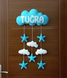 Cloudy baby door ornament named Tuğra - Dream bedroom - - Star Nursery, Boho Nursery, Nursery Wall Art, Nursery Decor, Childrens Bedside Lamp, Paper Crane Mobile, Cloud Night Light, Nursery Layout, Scandinavian Kids Rooms