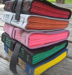 Colorful Leather Journals by Rhonda Miller, a.k.a. MyHandboundBooks, via Flickr